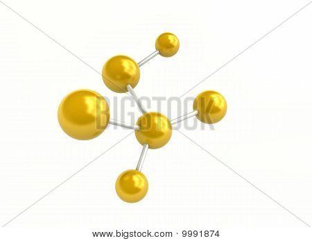 3D Molecule Golden