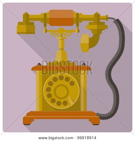 Vintage telephone vector icon. Retro style flat design vector illustration of old telephone