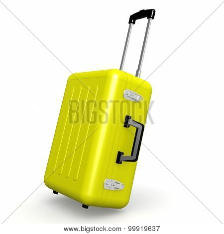 Yellow Luggage In Angle Position