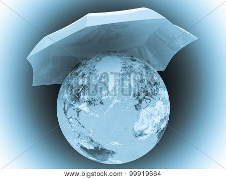 Planet Earth under umbrella