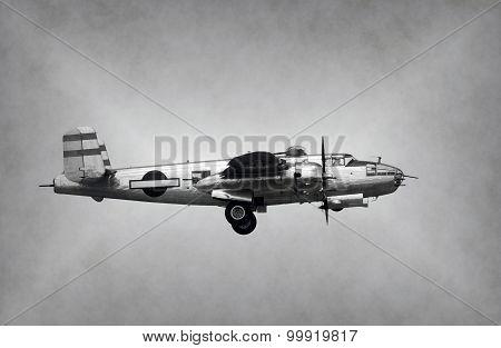 World War 2 Era Bomber black and white