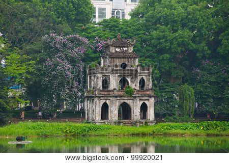 Turtle tower in Sword lake in Hanoi, Vietnam