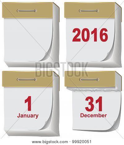 Set of tear-off calendar 2016