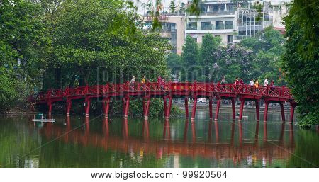 The Huc bridge in Hoan Kiem lake (or Sword Lake) in Hanoi, Vietnam
