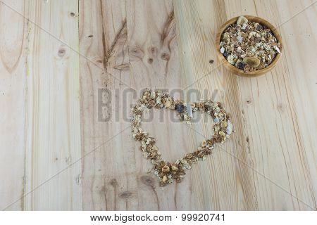 Heart-Shaped Muesli and Bowl of Muesli