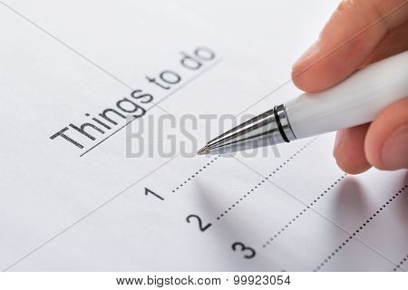 Person Planning List Of Work To Do