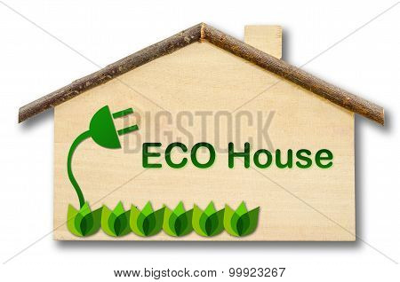 Eco House On Little Home Wooden Model Isolated On White Background.