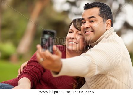Attractive Mixed Race Couple Taking Self Portraits