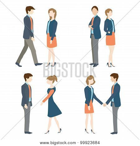 Businesswoman And Businessman In Various  Positions.