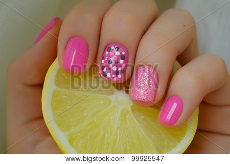 Nice pink nail art with gray and white dots