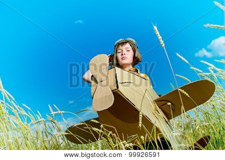 Brave dreamer boy playing with a cardboard airplane in the wheat field over blue sky and white clouds. Childhood. Fantasy, imagination.