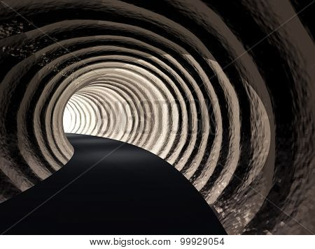 Concept or conceptual dark abstract road tunnel with bright light at the end background