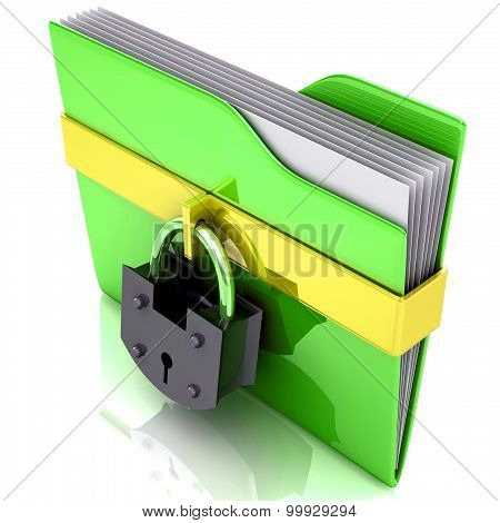 Folder and lock. Data security concept.