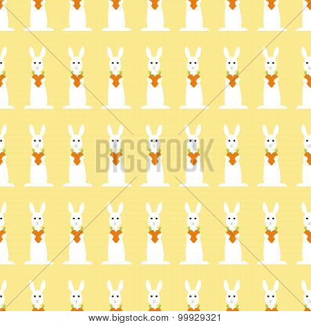 Background With Repeating Bunny And Carrot Heart