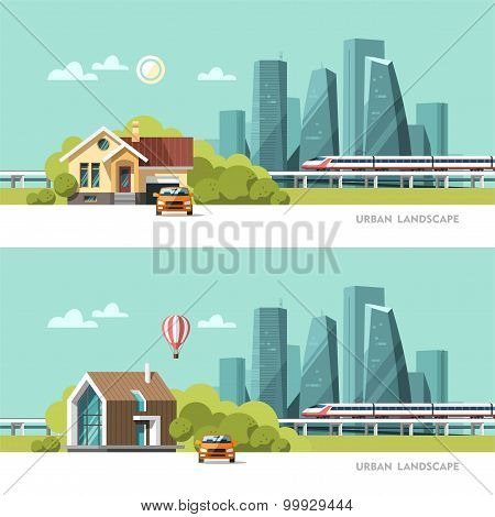 Family home. Traditional and modern house. Urban landscape. Downtown with skyscrapers and railway.