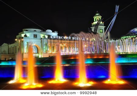 Kievsky Station And Fountain Rape Of Europe In Moscow At Night.