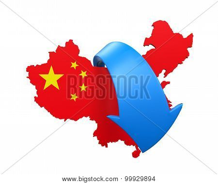 Map of China and Blue Arrow