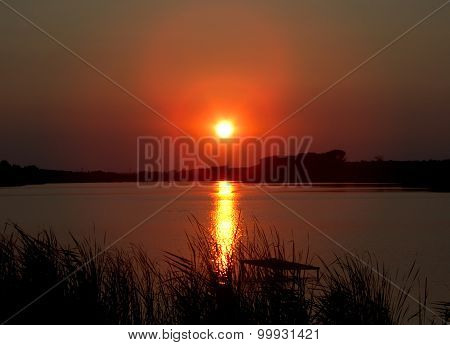Nice sunset over lake