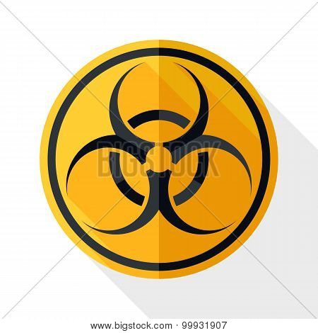 Biohazard Icon With Long Shadow On White Background
