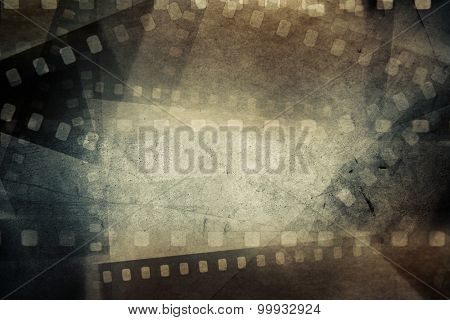 Film negative frames on grunge background