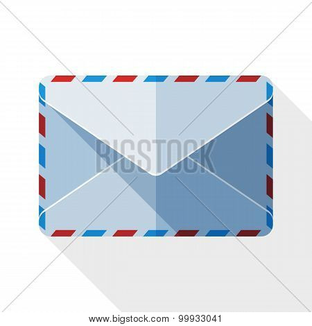 Sealed Envelope Icon With Long Shadow On White Background