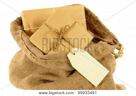 Mail Sack With Wrapped Packages