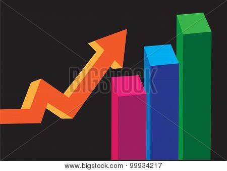 Three Dimensional Bar Chart And Up Arrow Vector Illustration