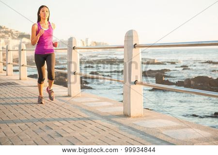 Fit woman jogging at promenade on a sunny day