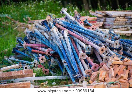 Scrap Left Over From The Building Construction Waiting For Dispose