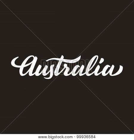 'australia' Handwritten Text, Brush Pen Lettering, T-shit, Poster, Logo Design, Vector Illustration