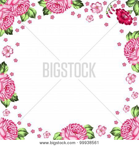 Russian Zhostovo Floral Background