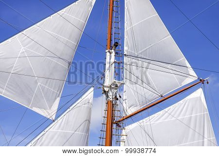 Mast And Sails Of Sailing Boat