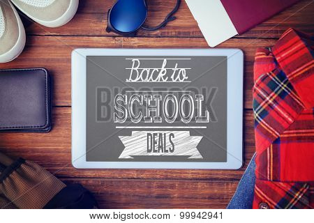 Back to school deals message against differents objects using every days