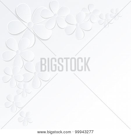 Beautiful Gray And White Background With Flowers Made Of Paper With A Place For Text. Many Similarit