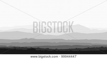 Landscape with huge mountain range.