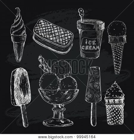 Ice cream on chalkboard