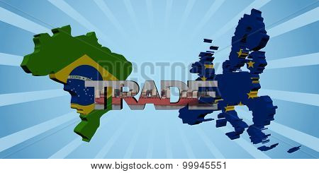Brazil EU map flags with trade text illustration