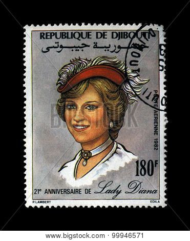 Djibouti - Circa 1982: Cancelled Stamp Printed In Republique De Djibouti Shows Lady Diana, Princess