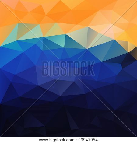 Vector Polygonal Background Pattern - Triangular Design In Sea Colors -