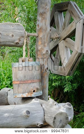 Old Draw Well With Wooden Bucket