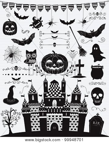 Vector Black Sketched Doodle Halloween Icons Silhouettes