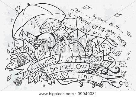 Vector Illustration Of Cartoon Doodles At Autumn