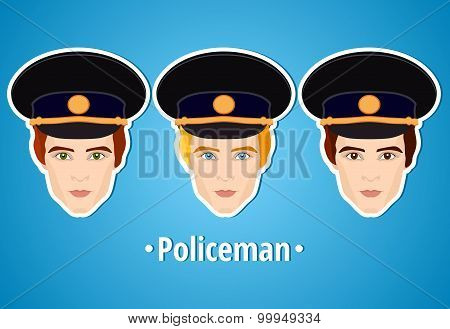 Set of vector illustrations of a policeman. Policeman. The man's face. Icon. Flat icon. Minimalism.
