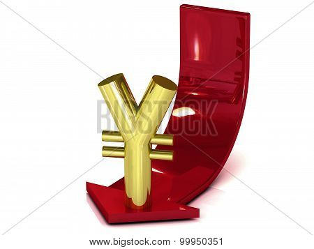 Metal yen down sign isolated