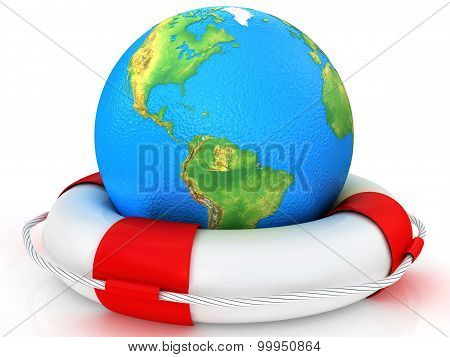 real globe and lifebuoy ring