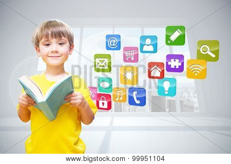 happy pupil with book against computing application icons