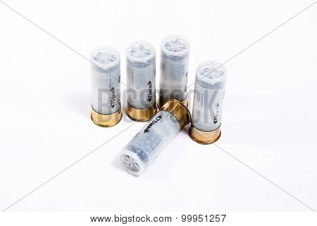 Shotgun Cartridges 12 Caliber On White.