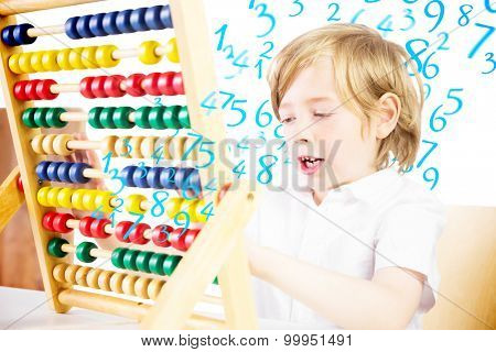 Cute pupil using abacus against numbers