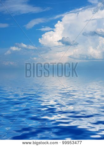 Surface Rippled Of Water And Sky Background