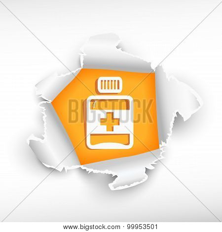 Vial Of Medicine And Breakthrough Paper Hole
